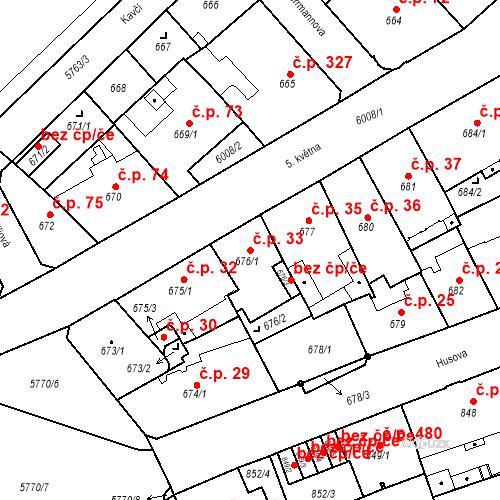 Katastrální mapa Stavební objekt Liberec I-Staré Město 33, Liberec