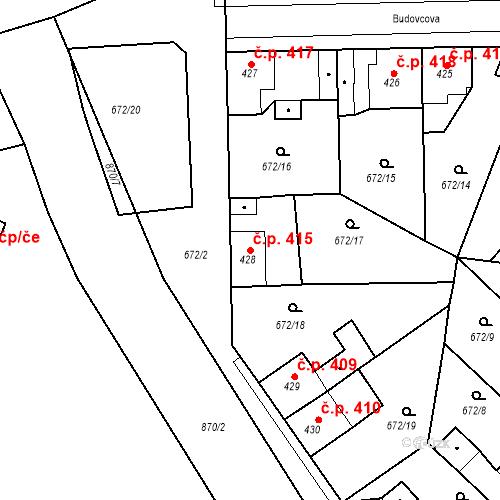 Katastrální mapa Stavební objekt Velký Osek 415, Velký Osek