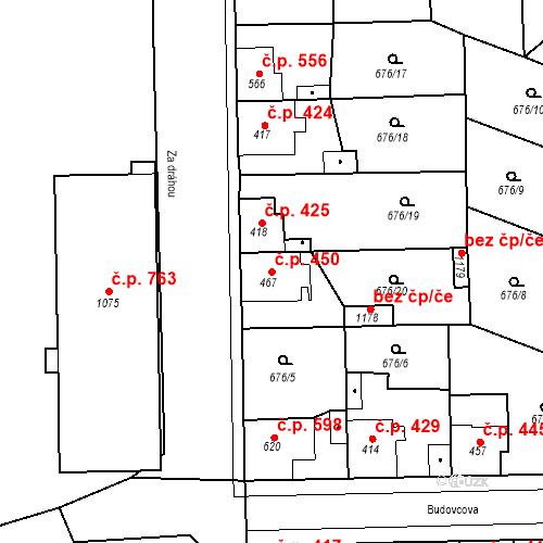 Katastrální mapa Stavební objekt Velký Osek 450, Velký Osek