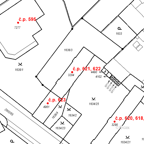 Katastrální mapa Stavební objekt Kolín IV 621, 622, Kolín