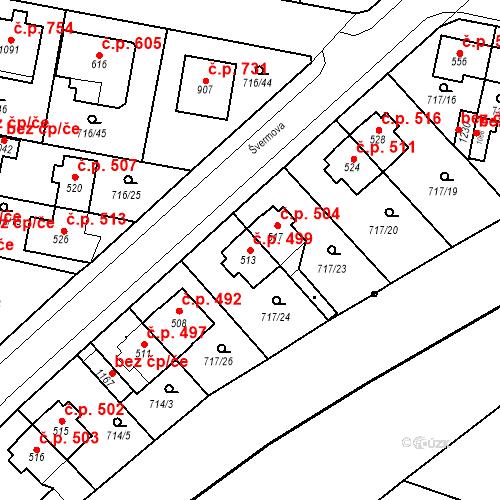 Katastrální mapa Stavební objekt Velký Osek 499, Velký Osek