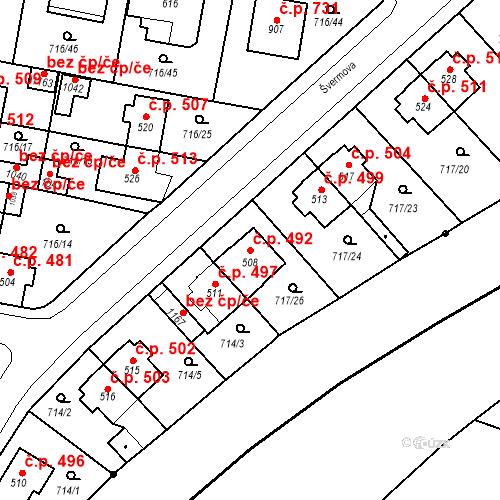 Katastrální mapa Stavební objekt Velký Osek 492, Velký Osek