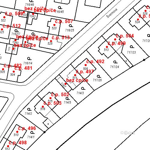 Katastrální mapa Stavební objekt Velký Osek 497, Velký Osek