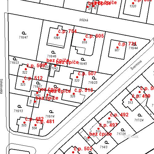 Katastrální mapa Stavební objekt Velký Osek 507, Velký Osek