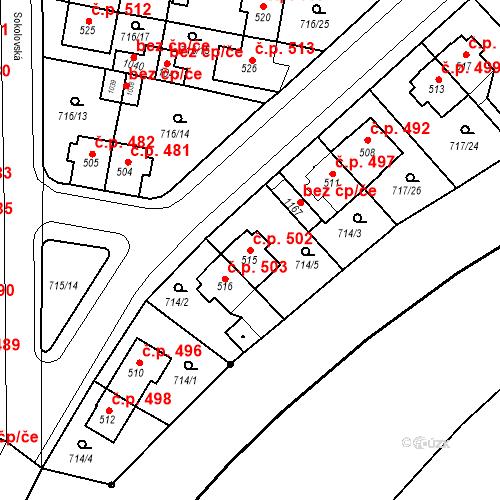 Katastrální mapa Stavební objekt Velký Osek 502, Velký Osek