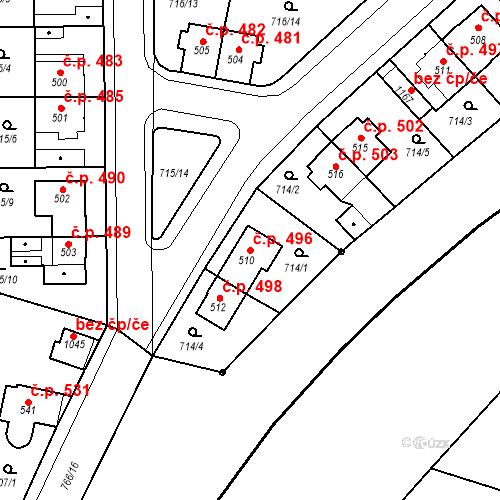 Katastrální mapa Stavební objekt Velký Osek 496, Velký Osek