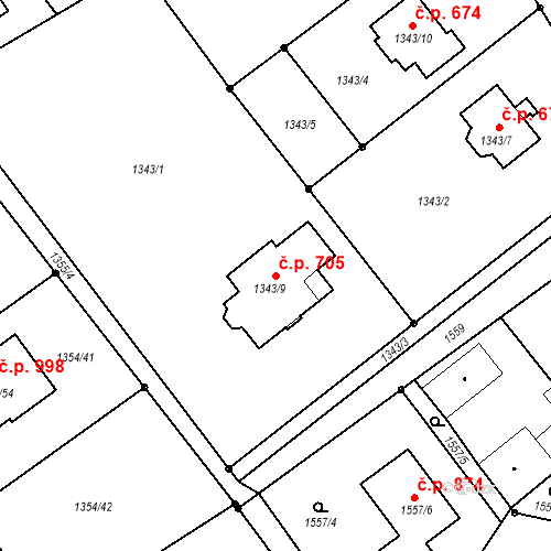 Katastrální mapa Stavební objekt Liberec XXV-Vesec 705, Liberec