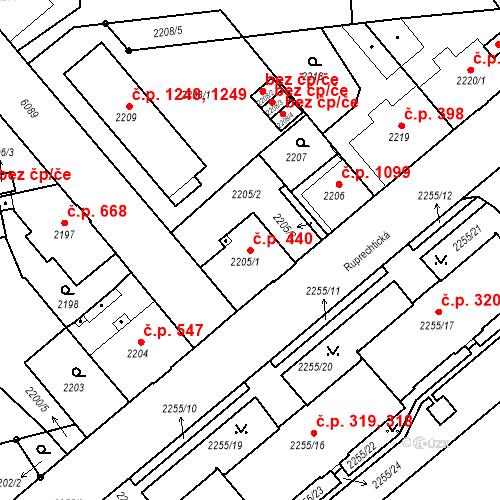 Katastrální mapa Stavební objekt Liberec I-Staré Město 440, Liberec
