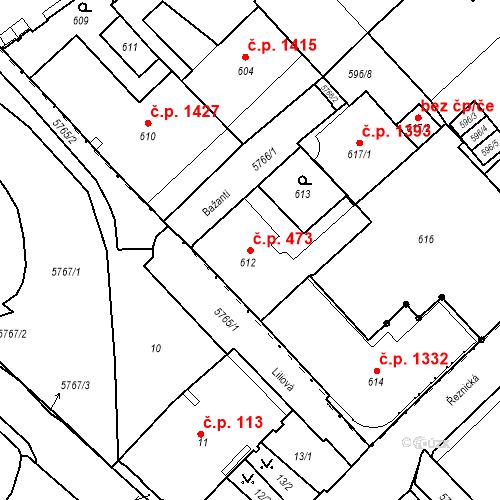 Katastrální mapa Stavební objekt Liberec I-Staré Město 473, Liberec