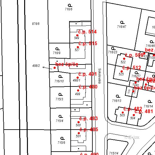 Katastrální mapa Stavební objekt Velký Osek 491, Velký Osek