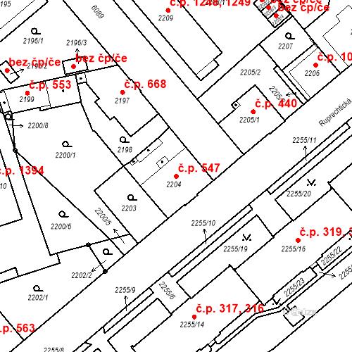 Katastrální mapa Stavební objekt Liberec I-Staré Město 547, Liberec