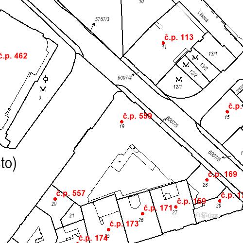 Katastrální mapa Stavební objekt Liberec I-Staré Město 559, Liberec