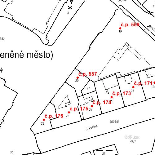 Katastrální mapa Stavební objekt Liberec I-Staré Město 557, Liberec