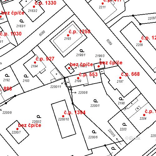 Katastrální mapa Stavební objekt Liberec I-Staré Město 553, Liberec