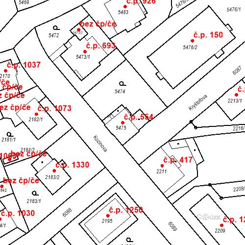 Katastrální mapa Stavební objekt Liberec I-Staré Město 554, Liberec