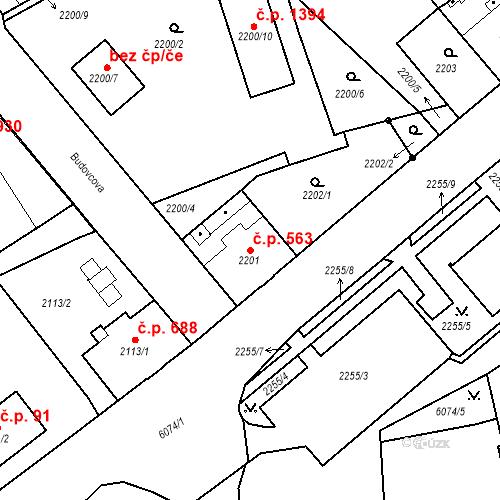 Katastrální mapa Stavební objekt Liberec I-Staré Město 563, Liberec