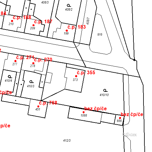 Katastrální mapa Stavební objekt Velký Osek 355, Velký Osek