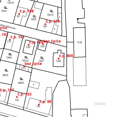 Katastrální mapa Stavební objekt Velký Osek 806, Velký Osek