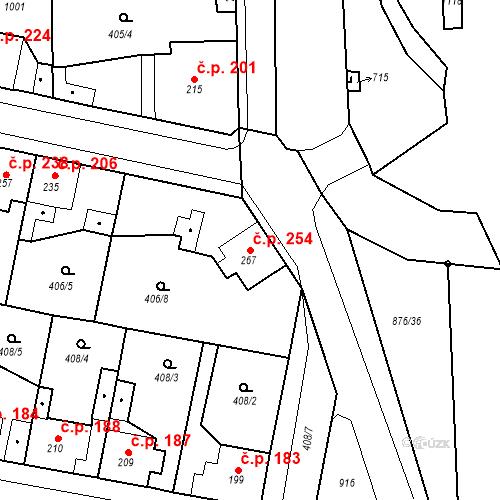 Katastrální mapa Stavební objekt Velký Osek 254, Velký Osek
