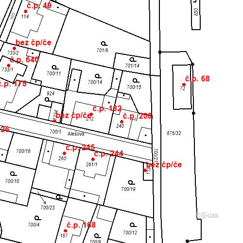 Katastrální mapa Stavební objekt Velký Osek 208, Velký Osek