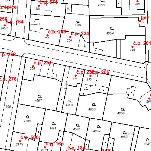 Katastrální mapa Stavební objekt Velký Osek 238, Velký Osek