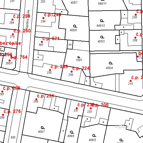 Katastrální mapa Stavební objekt Velký Osek 224, Velký Osek