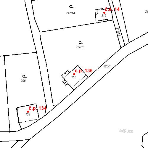 Katastrální mapa Stavební objekt Liberec XXXII-Radčice 136, Liberec