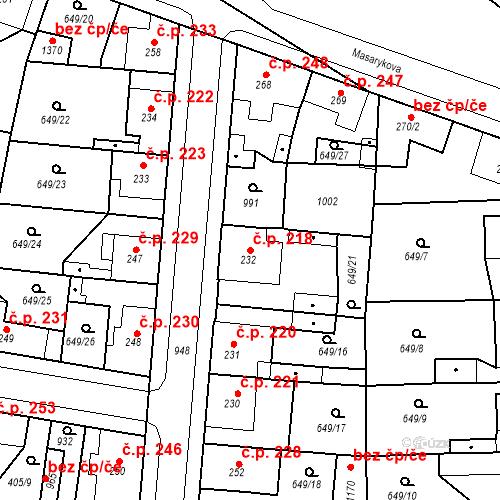 Katastrální mapa Stavební objekt Velký Osek 218, Velký Osek