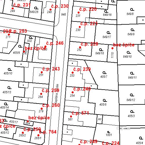 Katastrální mapa Stavební objekt Velký Osek 239, Velký Osek