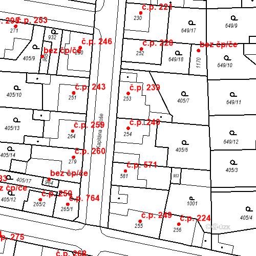 Katastrální mapa Stavební objekt Velký Osek 240, Velký Osek