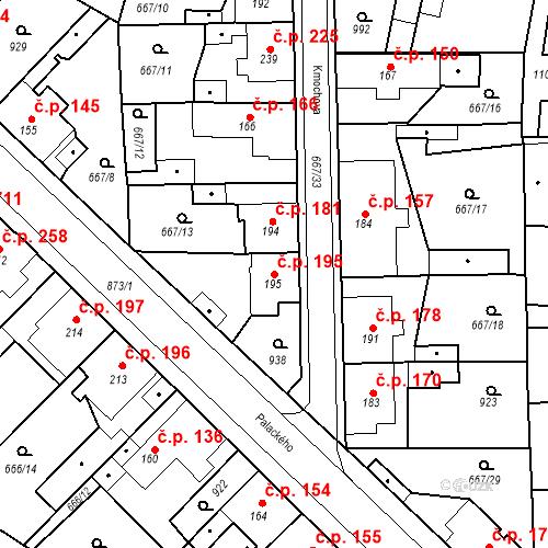 Katastrální mapa Stavební objekt Velký Osek 195, Velký Osek