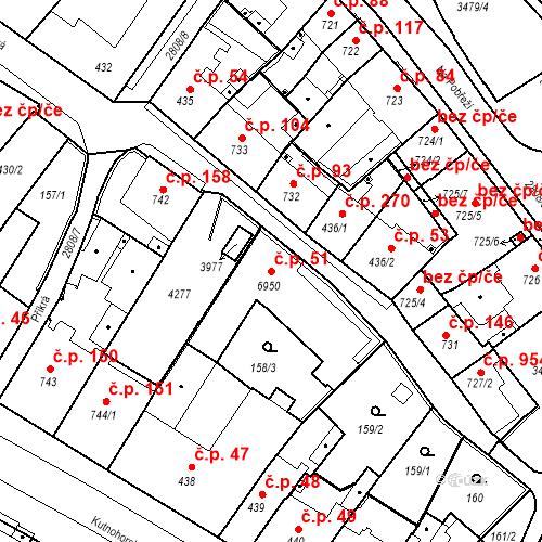 Katastrální mapa Stavební objekt Kolín IV 51, Kolín