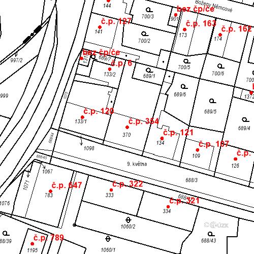 Katastrální mapa Stavební objekt Velký Osek 354, Velký Osek