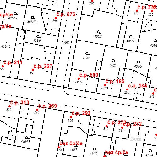 Katastrální mapa Stavební objekt Velký Osek 500, Velký Osek