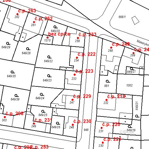 Katastrální mapa Stavební objekt Velký Osek 223, Velký Osek