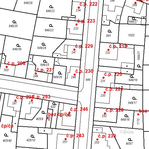 Katastrální mapa Stavební objekt Velký Osek 230, Velký Osek