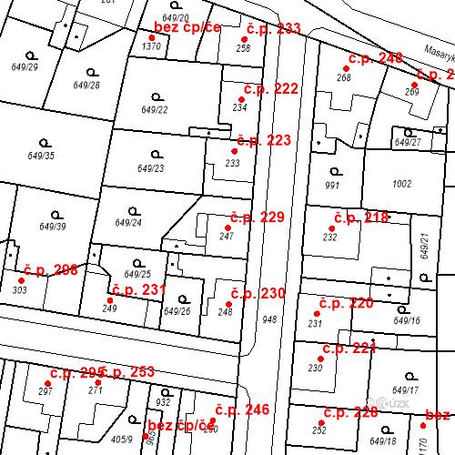 Katastrální mapa Stavební objekt Velký Osek 229, Velký Osek