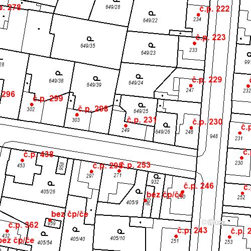 Katastrální mapa Stavební objekt Velký Osek 231, Velký Osek