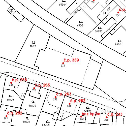 Katastrální mapa Stavební objekt Velký Osek 359, Velký Osek