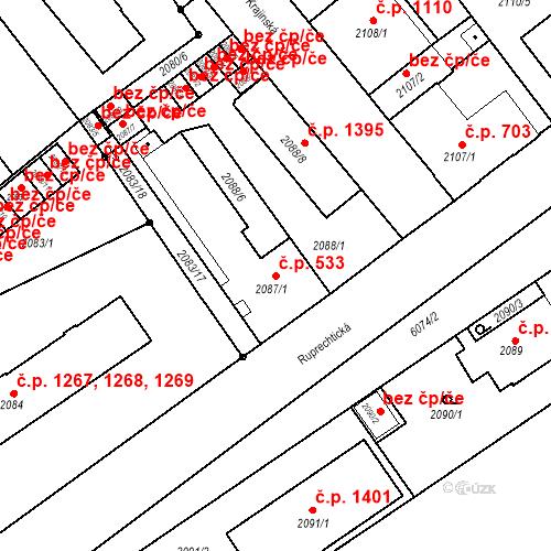 Katastrální mapa Stavební objekt Liberec I-Staré Město 533, Liberec