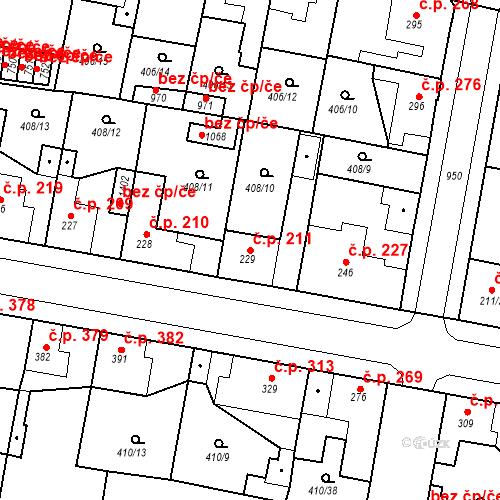 Katastrální mapa Stavební objekt Velký Osek 211, Velký Osek