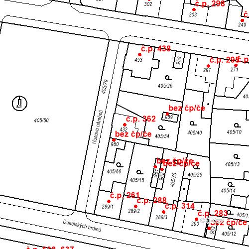 Katastrální mapa Stavební objekt Velký Osek 362, Velký Osek