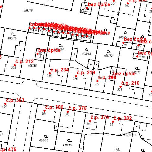 Katastrální mapa Stavební objekt Velký Osek 219, Velký Osek