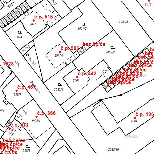 Katastrální mapa Stavební objekt Liberec I-Staré Město 442, Liberec