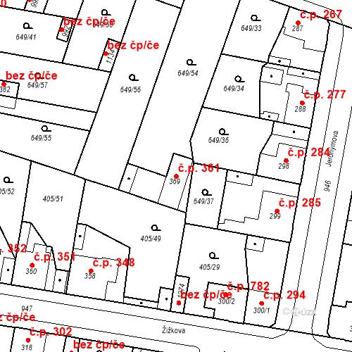 Katastrální mapa Stavební objekt Velký Osek 361, Velký Osek
