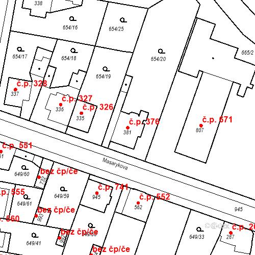 Katastrální mapa Stavební objekt Velký Osek 376, Velký Osek
