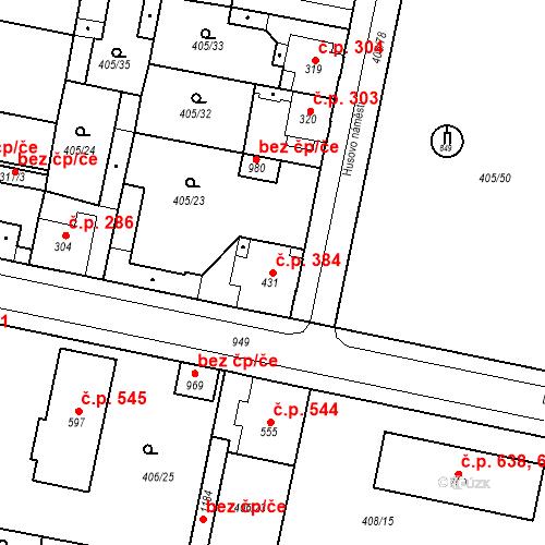 Katastrální mapa Stavební objekt Velký Osek 384, Velký Osek
