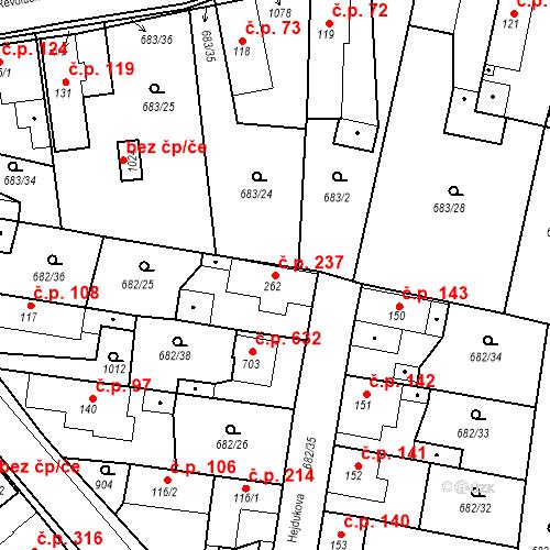 Katastrální mapa Stavební objekt Velký Osek 237, Velký Osek