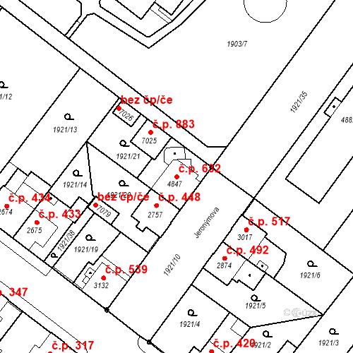 Katastrální mapa Stavební objekt Kolín IV 632, Kolín