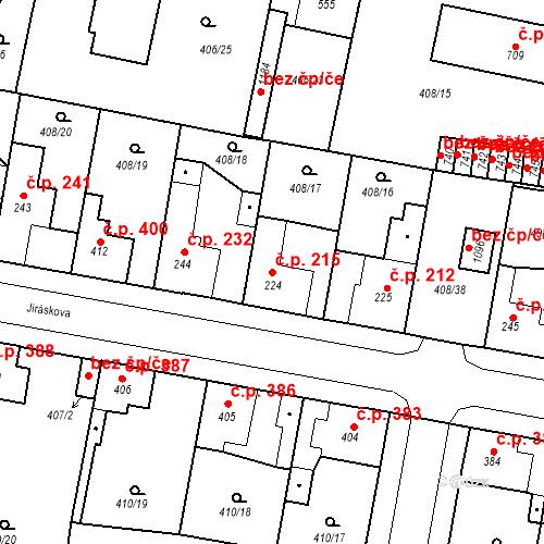 Katastrální mapa Stavební objekt Velký Osek 215, Velký Osek